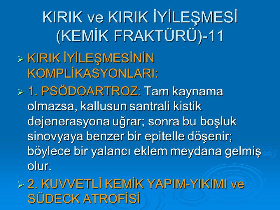 KIRIK ve KIRIK İYİLEŞMESİ (KEMİK FRAKTÜRÜ)-11  KIRIK İYİLEŞMESİNİN KOMPLİKASYONLARI:  1.