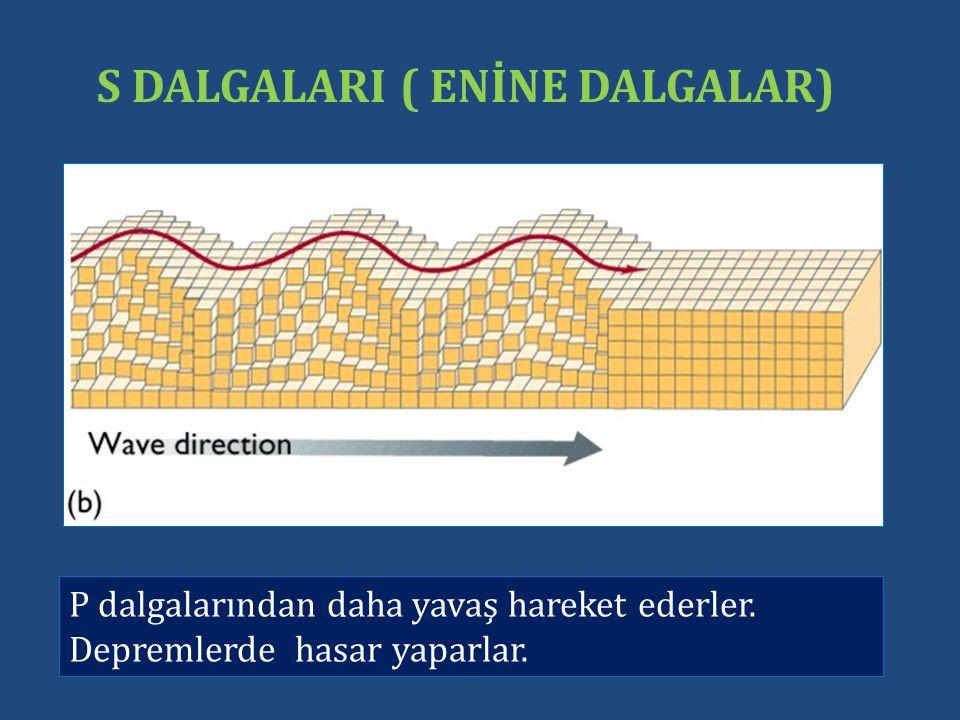 S DALGALARI ( ENİNE DALGALAR) P dalgalarından daha yavaş hareket ederler.