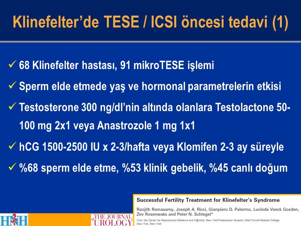 Klinefelter'de TESE / ICSI öncesi tedavi (1) 68 Klinefelter hastası, 91 mikroTESE işlemi Sperm elde etmede yaş ve hormonal parametrelerin etkisi Testo