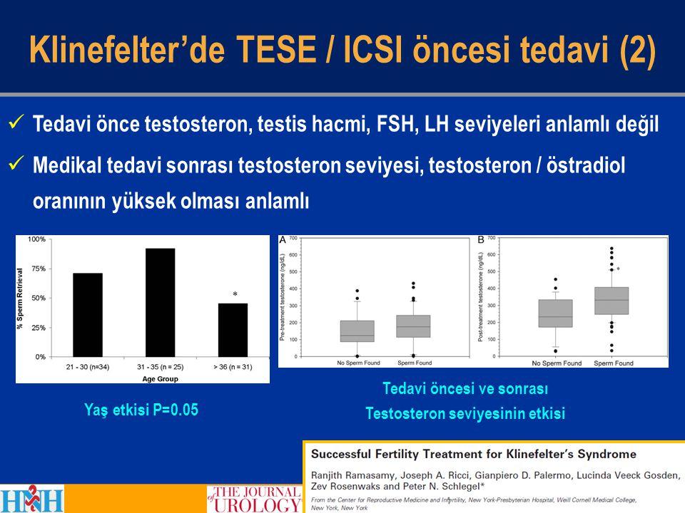 Tedavi önce testosteron, testis hacmi, FSH, LH seviyeleri anlamlı değil Medikal tedavi sonrası testosteron seviyesi, testosteron / östradiol oranının