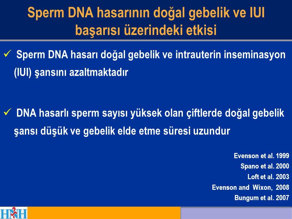Sperm DNA hasarının doğal gebelik ve IUI başarısı üzerindeki etkisi Sperm DNA hasarı doğal gebelik ve intrauterin inseminasyon (IUI) şansını azaltmakt
