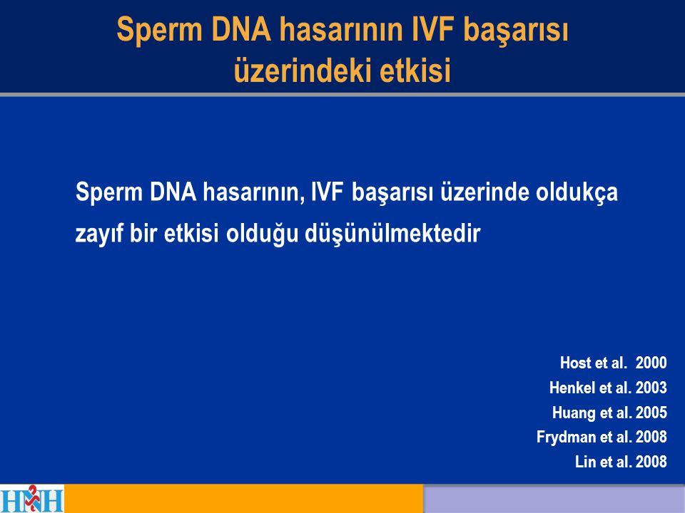 Sperm DNA hasarının IVF başarısı üzerindeki etkisi Host et al. 2000 Henkel et al. 2003 Huang et al. 2005 Frydman et al. 2008 Lin et al. 2008 Sperm DNA