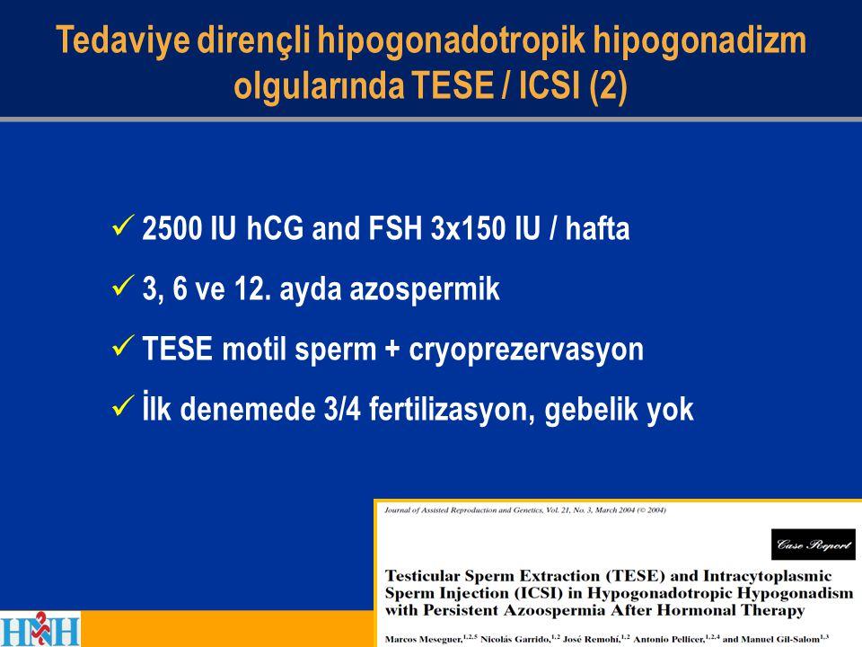 2500 IU hCG and FSH 3x150 IU / hafta 3, 6 ve 12. ayda azospermik TESE motil sperm + cryoprezervasyon İlk denemede 3/4 fertilizasyon, gebelik yok Tedav