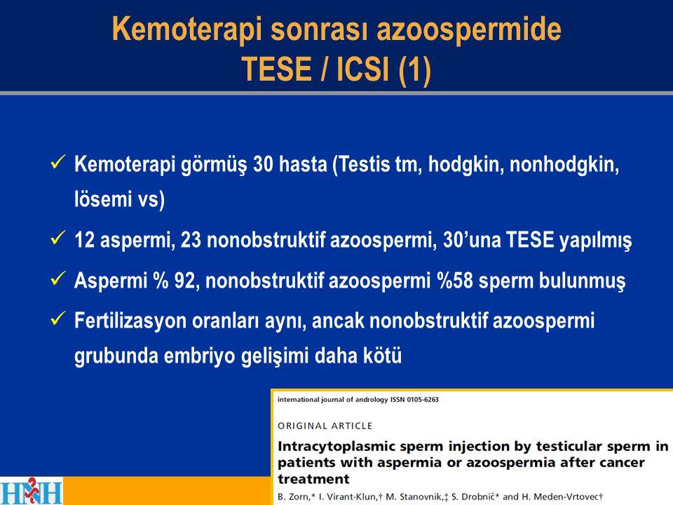 Kemoterapi sonrası azoospermide TESE / ICSI (1) Kemoterapi görmüş 30 hasta (Testis tm, hodgkin, nonhodgkin, lösemi vs) 12 aspermi, 23 nonobstruktif az