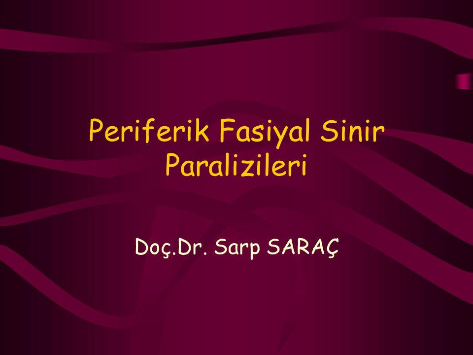 Periferik Fasiyal Sinir Paralizileri Doç.Dr. Sarp SARAÇ