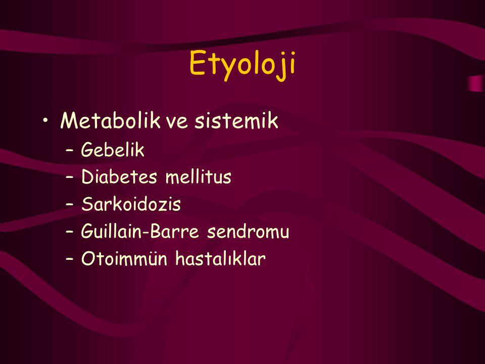 Etyoloji Metabolik ve sistemik –Gebelik –Diabetes mellitus –Sarkoidozis –Guillain-Barre sendromu –Otoimmün hastalıklar