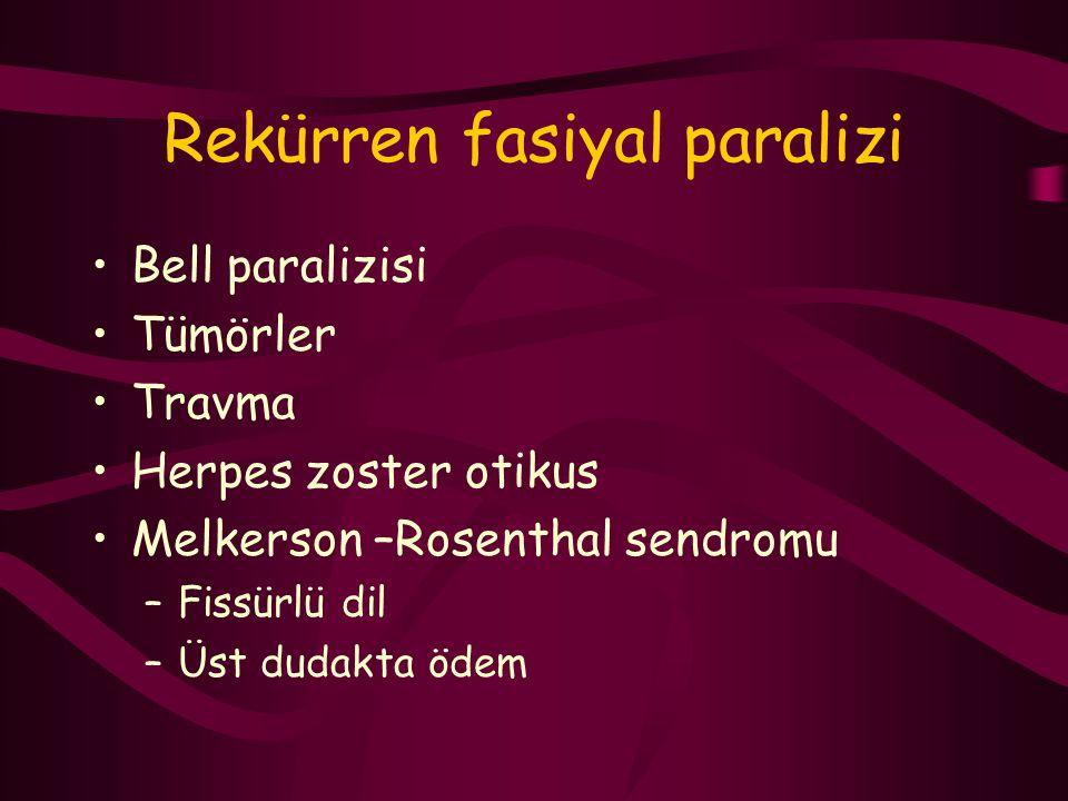 Rekürren fasiyal paralizi Bell paralizisi Tümörler Travma Herpes zoster otikus Melkerson –Rosenthal sendromu –Fissürlü dil –Üst dudakta ödem