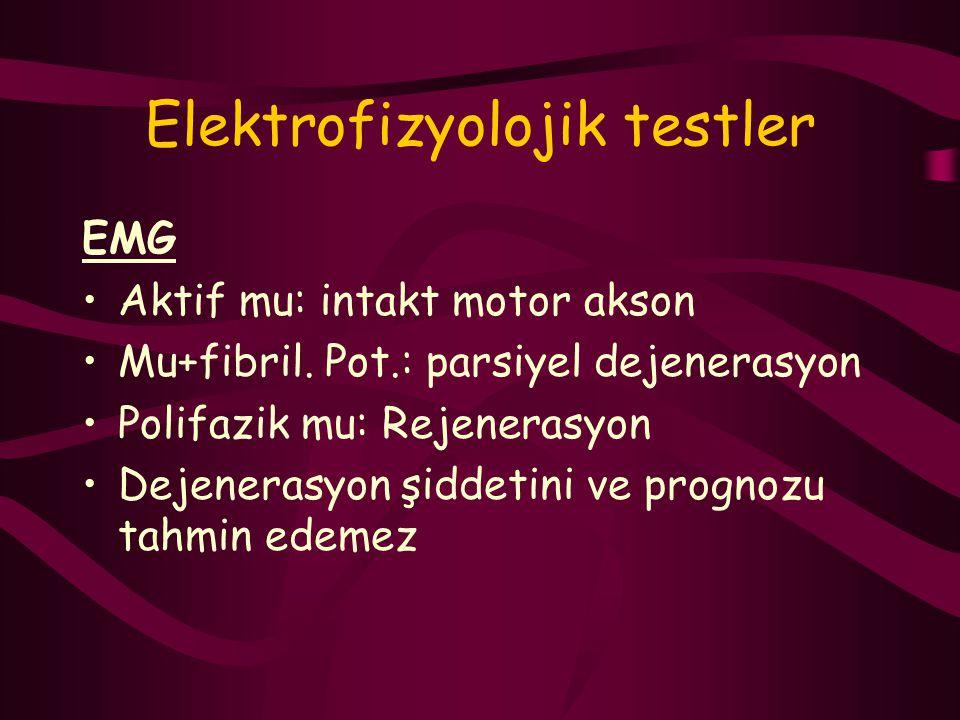 Elektrofizyolojik testler EMG Aktif mu: intakt motor akson Mu+fibril. Pot.: parsiyel dejenerasyon Polifazik mu: Rejenerasyon Dejenerasyon şiddetini ve