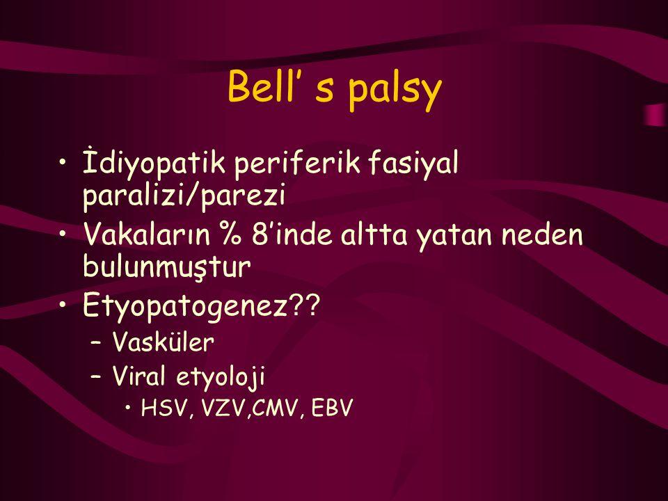 Bell' s palsy İdiyopatik periferik fasiyal paralizi/parezi Vakaların % 8'inde altta yatan neden bulunmuştur Etyopatogenez ?? –Vasküler –Viral etyoloji