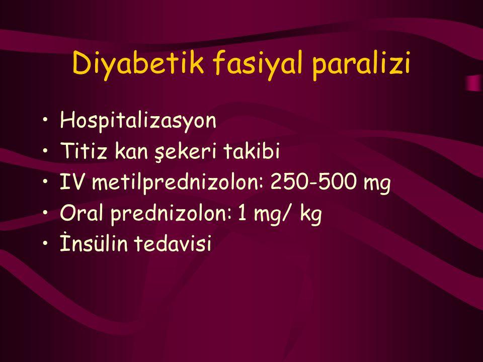 Diyabetik fasiyal paralizi Hospitalizasyon Titiz kan şekeri takibi IV metilprednizolon: 250-500 mg Oral prednizolon: 1 mg/ kg İnsülin tedavisi