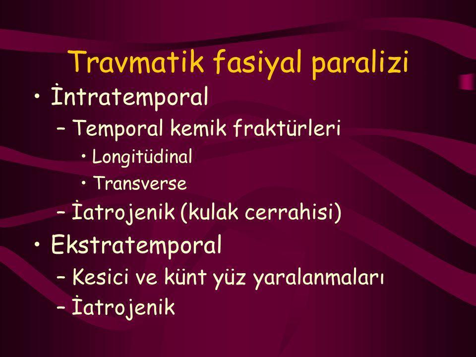 Travmatik fasiyal paralizi İntratemporal –Temporal kemik fraktürleri Longitüdinal Transverse –İatrojenik (kulak cerrahisi) Ekstratemporal –Kesici ve k