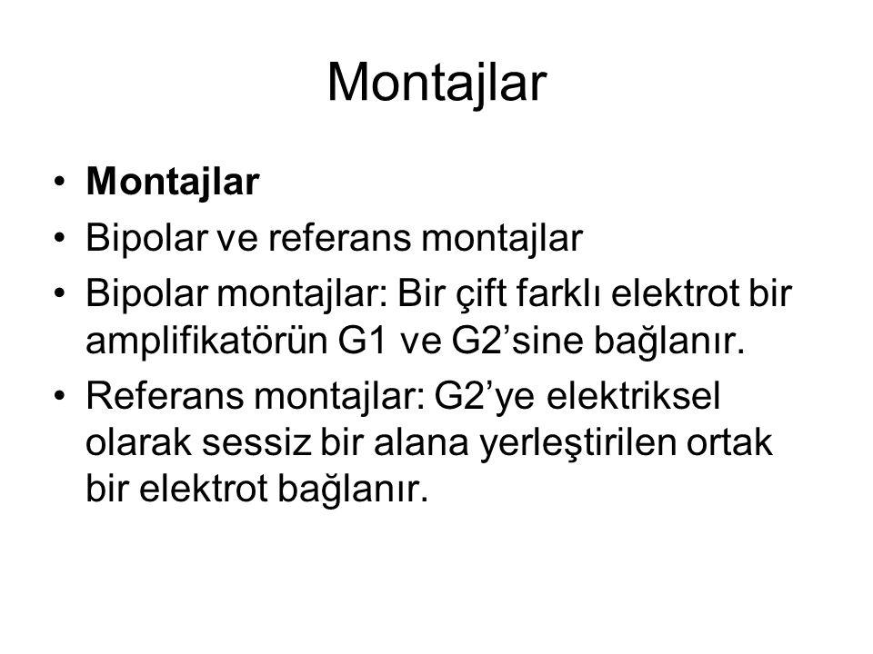 Montajlar Bipolar ve referans montajlar Bipolar montajlar: Bir çift farklı elektrot bir amplifikatörün G1 ve G2'sine bağlanır. Referans montajlar: G2'