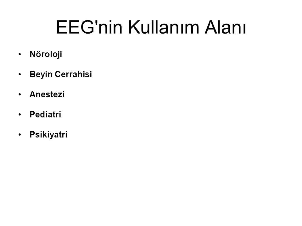 EEG nin Kullanım Alanı Nöroloji Beyin Cerrahisi Anestezi Pediatri Psikiyatri