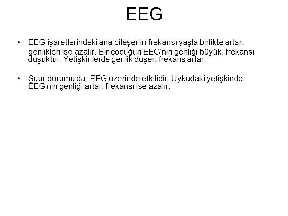 EEG EEG işaretlerindeki ana bileşenin frekansı yaşla birlikte artar, genlikleri ise azalır. Bir çocuğun EEG'nin genliği büyük, frekansı düşüktür. Yeti