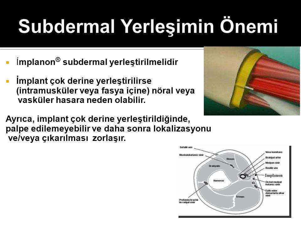  İmplanon ® subdermal yerleştirilmelidir  İmplant çok derine yerleştirilirse (intramusküler veya fasya içine) nöral veya vasküler hasara neden olabi