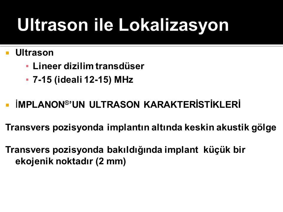  Ultrason ▪Lineer dizilim transdüser ▪7-15 (ideali 12-15) MHz  İMPLANON ® 'UN ULTRASON KARAKTERİSTİKLERİ Transvers pozisyonda implantın altında kesk