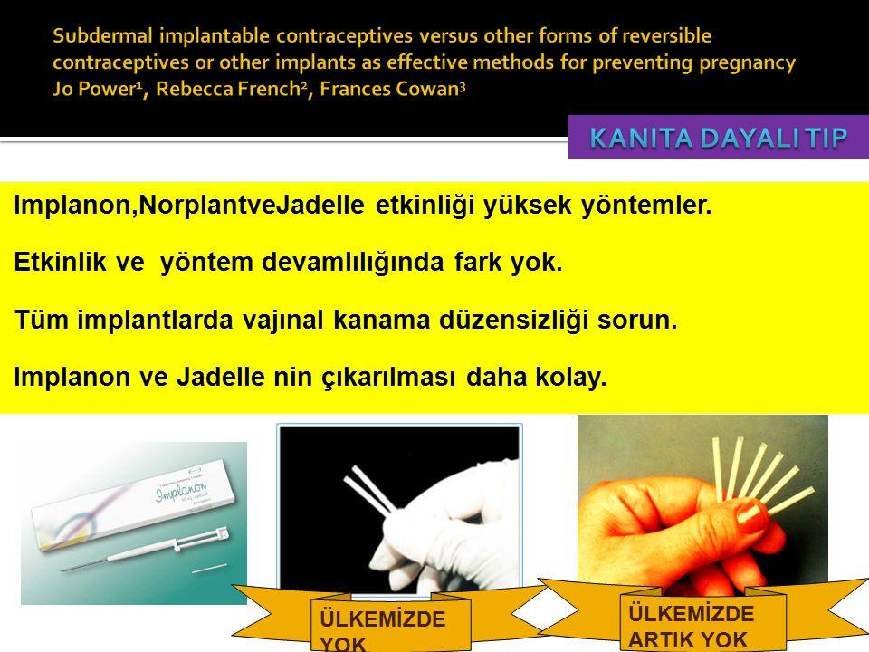  Implanon,NorplantveJadelle etkinliği yüksek yöntemler.  Etkinlik ve yöntem devamlılığında fark yok.  Tüm implantlarda vajınal kanama düzensizliği