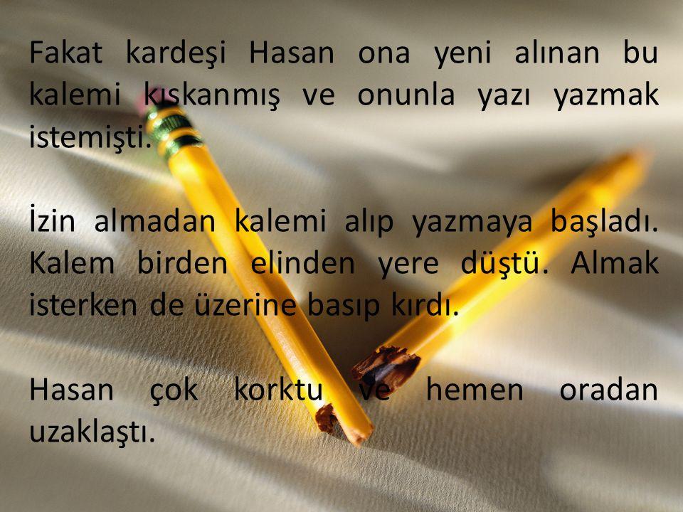 Fakat kardeşi Hasan ona yeni alınan bu kalemi kıskanmış ve onunla yazı yazmak istemişti.