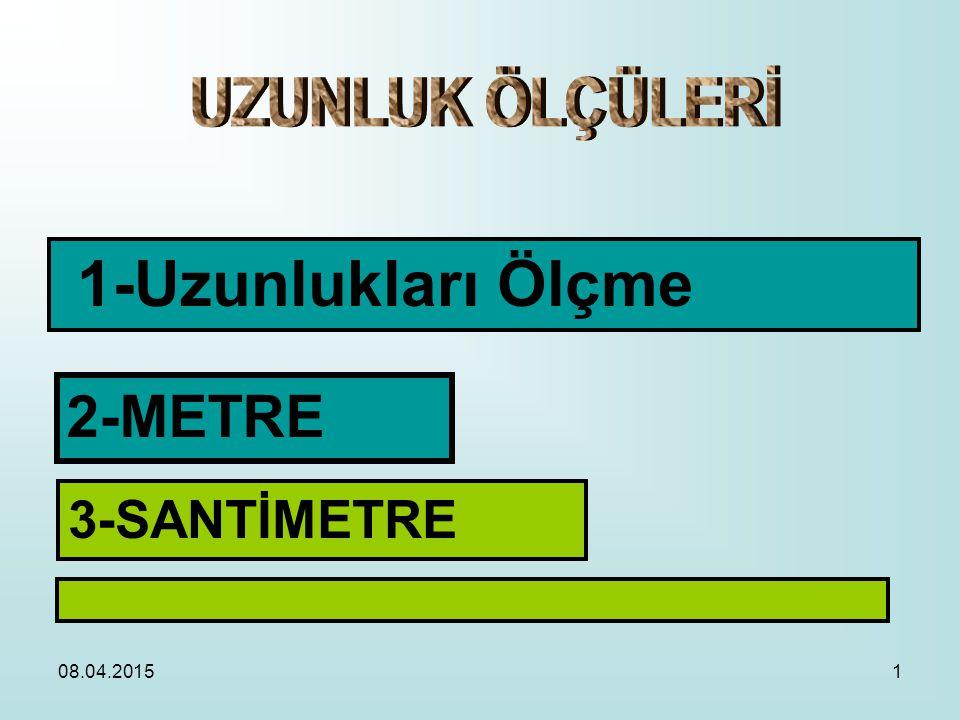 08.04.20151 1-Uzunlukları Ölçme 2-METRE 3-SANTİMETRE