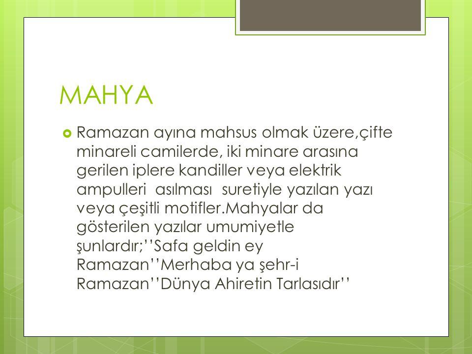 MAHYA  Ramazan ayına mahsus olmak üzere,çifte minareli camilerde, iki minare arasına gerilen iplere kandiller veya elektrik ampulleri asılması suretiyle yazılan yazı veya çeşitli motifler.Mahyalar da gösterilen yazılar umumiyetle şunlardır;''Safa geldin ey Ramazan''Merhaba ya şehr-i Ramazan''Dünya Ahiretin Tarlasıdır''