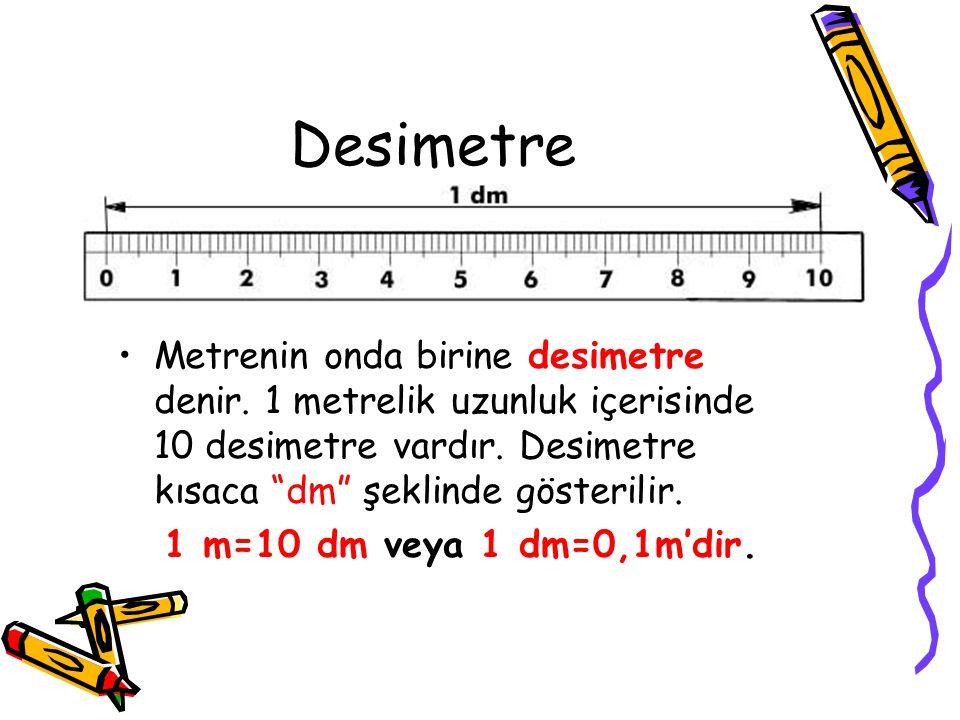 A.Metrenin As Katları 1.Desimetre 2.Santimetre 3.Milimetre