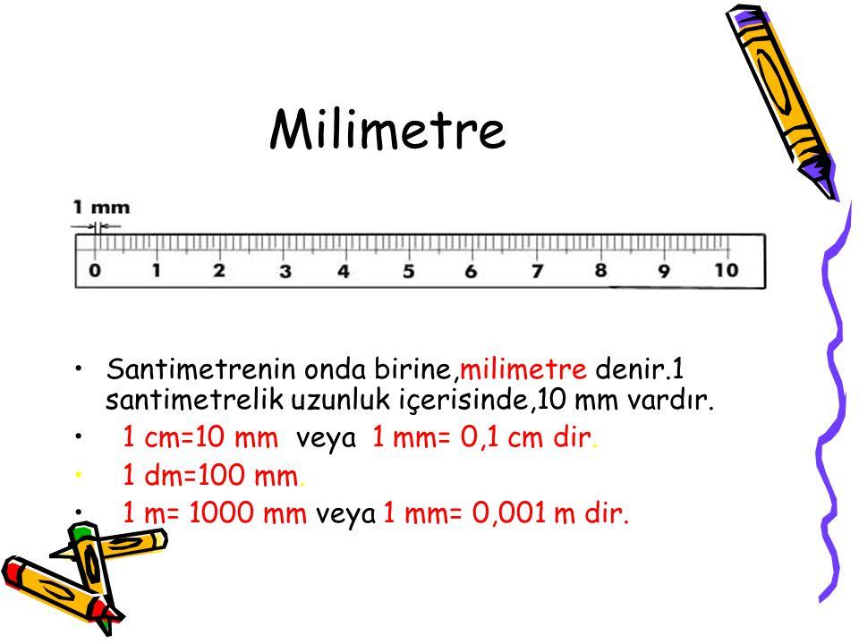 """Santimetre Desimetrenin onda birine santimetre denir. 1 desimetre uzunluk içerisinde,10 santimetre vardır. Santimetre kısaca """"cm"""" şeklinde gösterilir."""