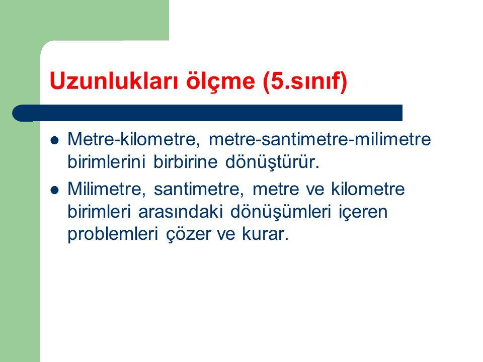 Uzunlukları ölçme (5.sınıf) Metre-kilometre, metre-santimetre-milimetre birimlerini birbirine dönüştürür.
