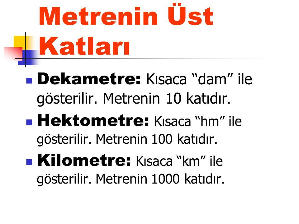 """Metrenin Üst Katları Dekametre: Kısaca """"dam"""" ile gösterilir. Metrenin 10 katıdır. Hektometre: Kısaca """"hm"""" ile gösterilir. Metrenin 100 katıdır. Kilome"""