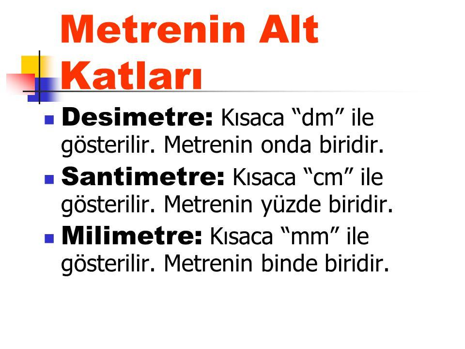 """Metrenin Alt Katları Desimetre: Kısaca """"dm"""" ile gösterilir. Metrenin onda biridir. Santimetre: Kısaca """"cm"""" ile gösterilir. Metrenin yüzde biridir. Mil"""