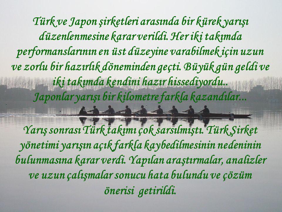Türk ve Japon şirketleri arasında bir kürek yarışı düzenlenmesine karar verildi. Her iki takımda performanslarının en üst düzeyine varabilmek için uzu