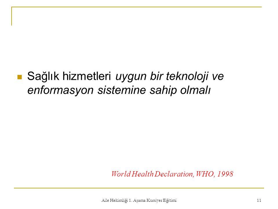 Aile Hekimliği 1. Aşama Kursiyer Eğitimi 11 Sağlık hizmetleri uygun bir teknoloji ve enformasyon sistemine sahip olmalı World Health Declaration, WHO,