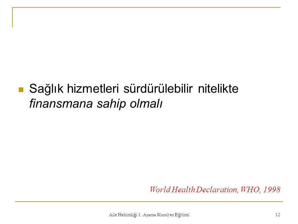 Aile Hekimliği 1. Aşama Kursiyer Eğitimi 12 Sağlık hizmetleri sürdürülebilir nitelikte finansmana sahip olmalı World Health Declaration, WHO, 1998