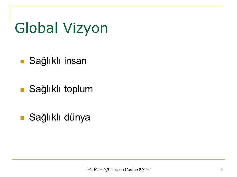 Aile Hekimliği 1. Aşama Kursiyer Eğitimi 4 Global Vizyon Sağlıklı insan Sağlıklı toplum Sağlıklı dünya