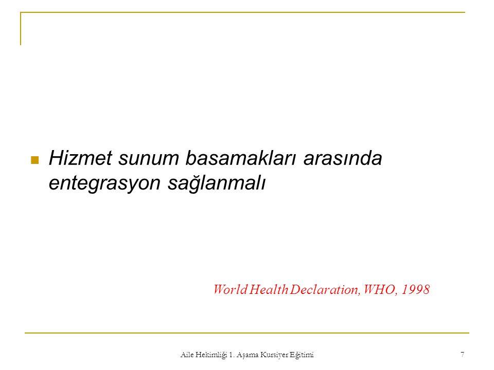 Aile Hekimliği 1. Aşama Kursiyer Eğitimi 7 Hizmet sunum basamakları arasında entegrasyon sağlanmalı World Health Declaration, WHO, 1998