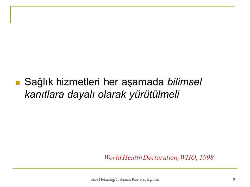 Aile Hekimliği 1. Aşama Kursiyer Eğitimi 9 Sağlık hizmetleri her aşamada bilimsel kanıtlara dayalı olarak yürütülmeli World Health Declaration, WHO, 1