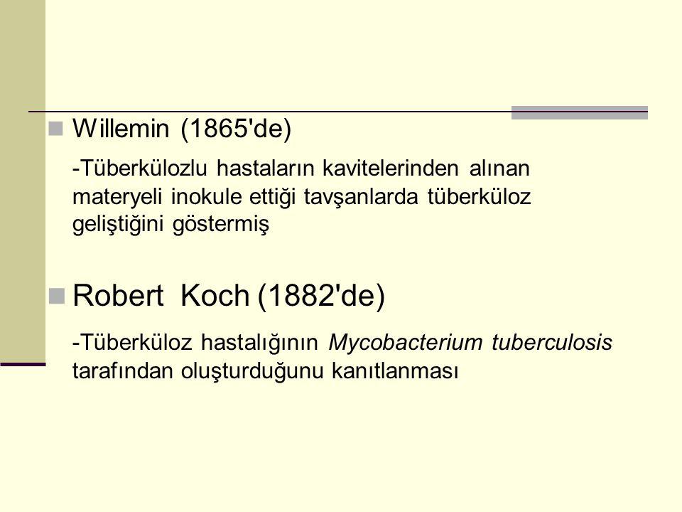 Willemin (1865 de) -Tüberkülozlu hastaların kavitelerinden alınan materyeli inokule ettiği tavşanlarda tüberküloz geliştiğini göstermiş Robert Koch (1882 de) -Tüberküloz hastalığının Mycobacterium tuberculosis tarafından oluşturduğunu kanıtlanması