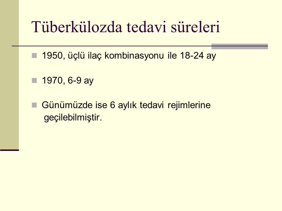 Tüberkülozda tedavi süreleri 1950, üçlü ilaç kombinasyonu ile 18-24 ay 1970, 6-9 ay Günümüzde ise 6 aylık tedavi rejimlerine geçilebilmiştir.