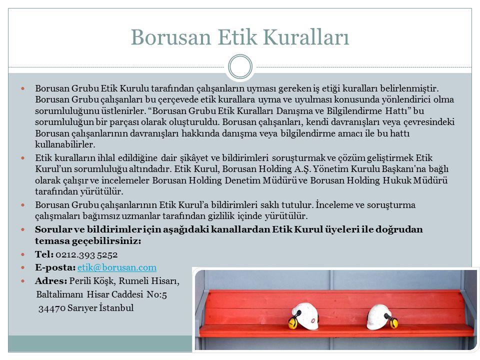 Borusan Etik Kuralları Borusan Grubu Etik Kurulu tarafından çalışanların uyması gereken iş etiği kuralları belirlenmiştir. Borusan Grubu çalışanları b