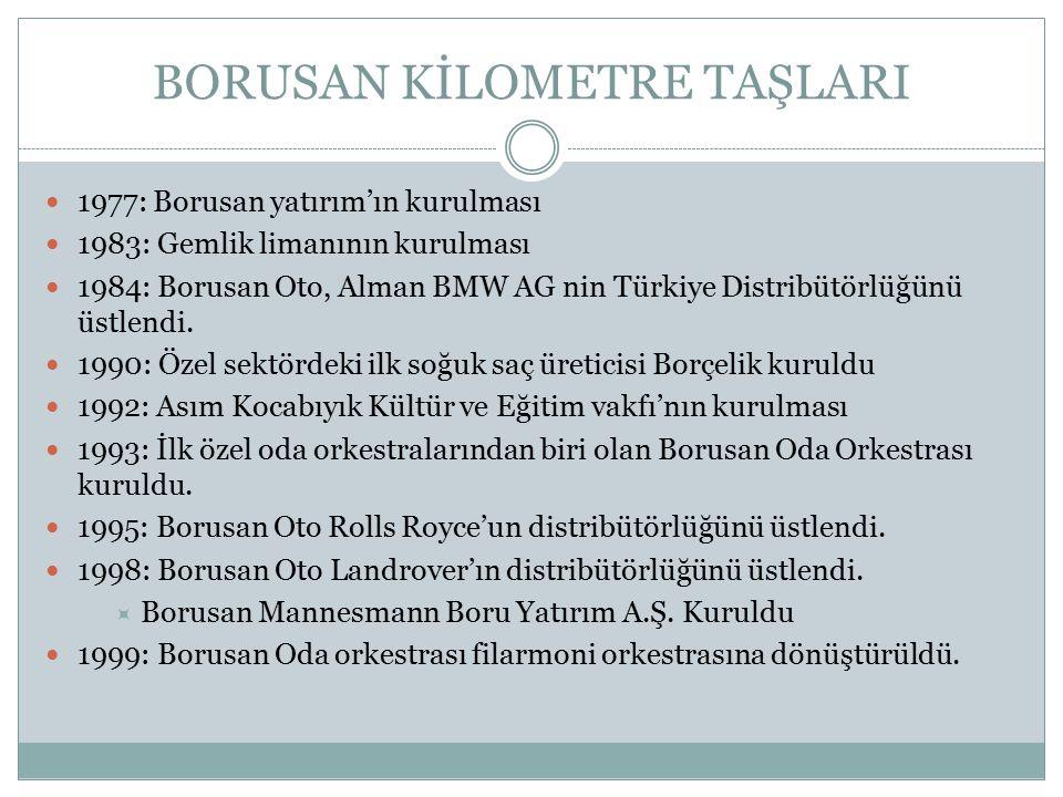 BORUSAN KİLOMETRE TAŞLARI 1977: Borusan yatırım'ın kurulması 1983: Gemlik limanının kurulması 1984: Borusan Oto, Alman BMW AG nin Türkiye Distribütörl