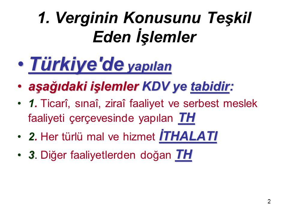 2 1. Verginin Konusunu Teşkil Eden İşlemler Türkiye'de yapılanTürkiye'de yapılan aşağıdaki işlemler KDV ye tabidir:aşağıdaki işlemler KDV ye tabidir: