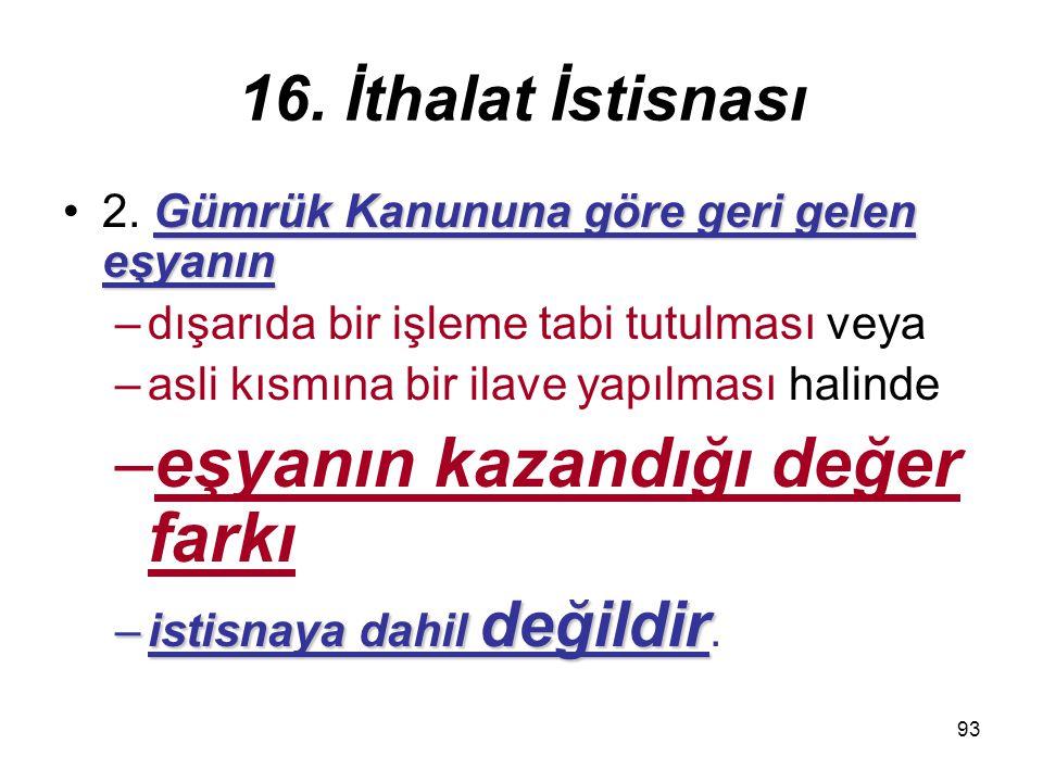 93 16.İthalat İstisnası Gümrük Kanununa göre geri gelen eşyanın2.