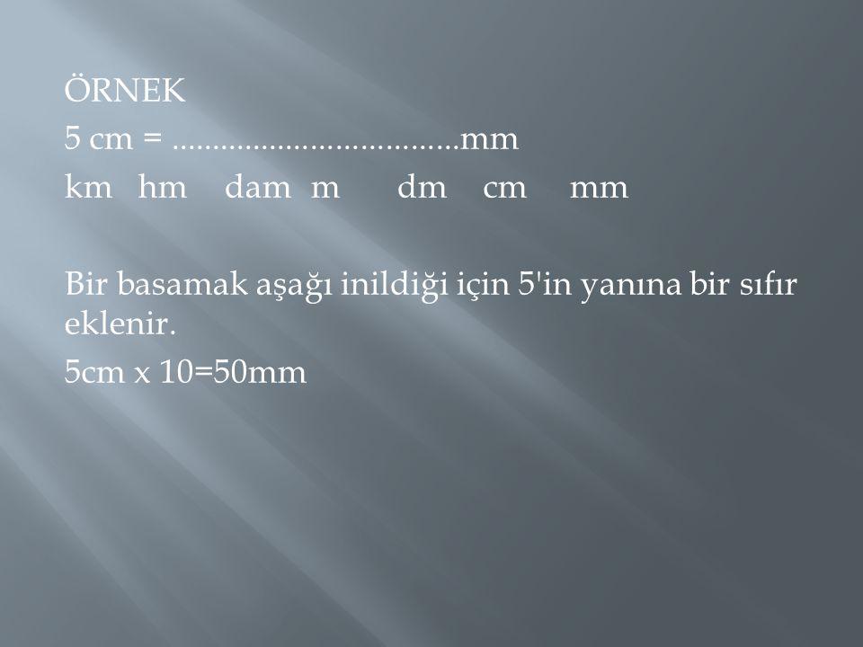 ÖRNEK 5 cm =...................................mm kmhmdammdmcmmm Bir basamak aşağı inildiği için 5'in yanına bir sıfır eklenir. 5cm x 10=50mm