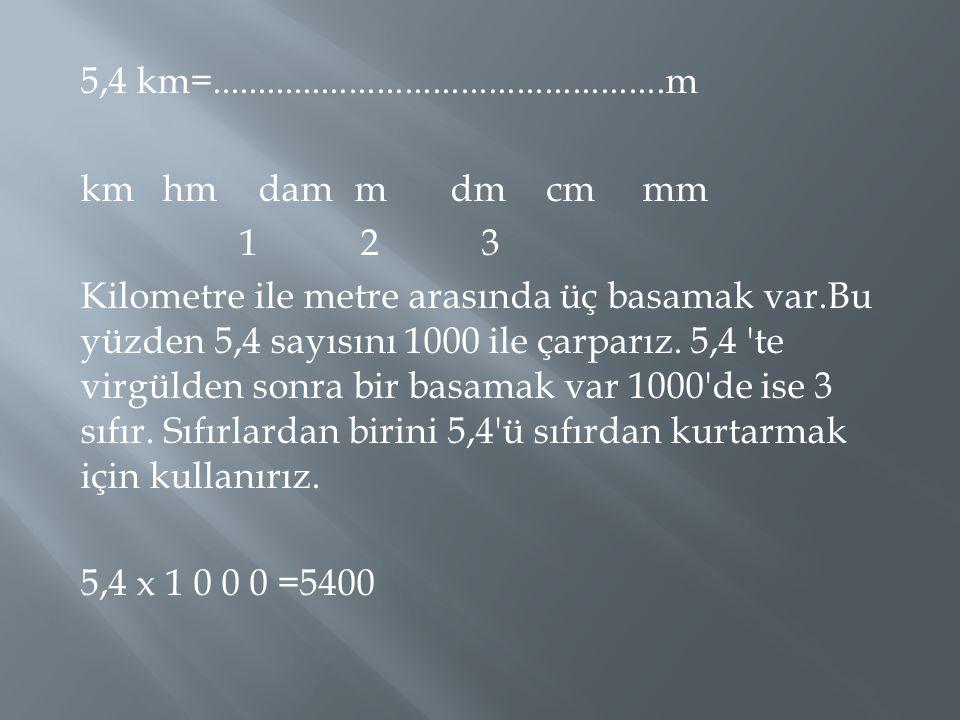 5,4 km=.................................................m kmhmdammdmcmmm 1 2 3 Kilometre ile metre arasında üç basamak var.Bu yüzden 5,4 sayısını 1000