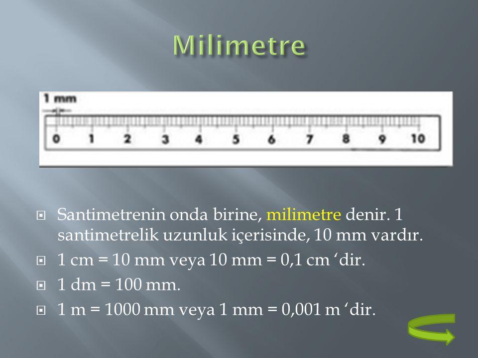  Santimetrenin onda birine, milimetre denir. 1 santimetrelik uzunluk içerisinde, 10 mm vardır.  1 cm = 10 mm veya 10 mm = 0,1 cm 'dir.  1 dm = 100