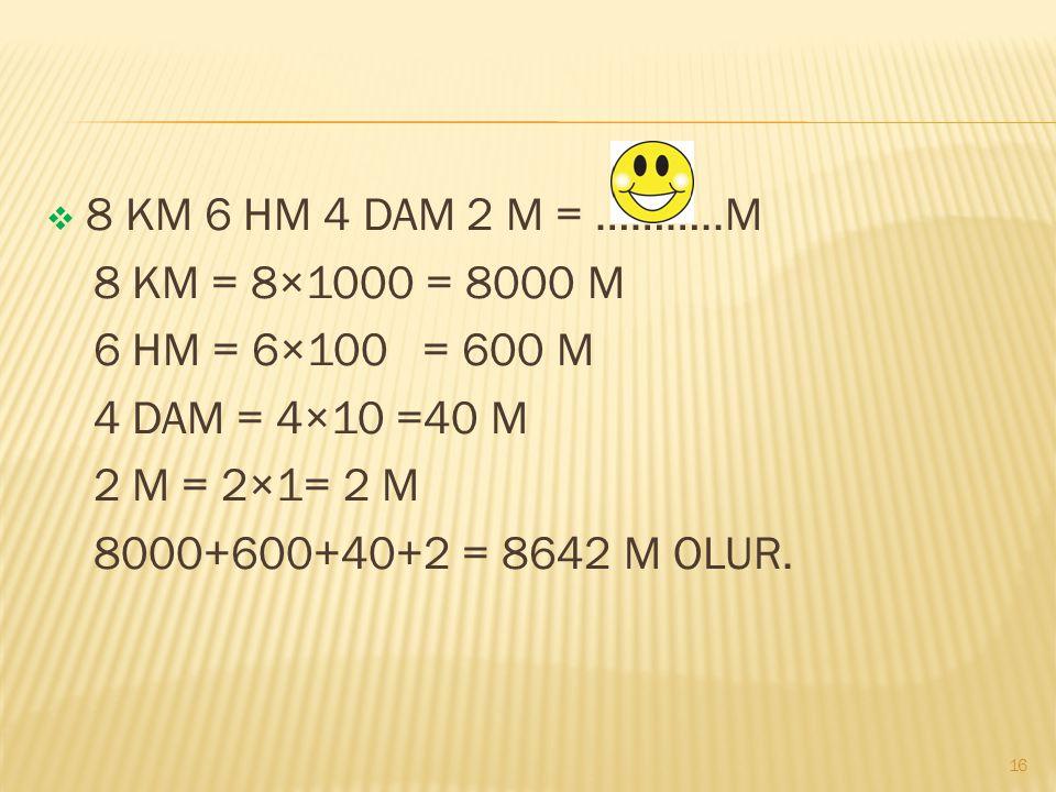  2500 M= 250 DAM  1860 DAM = 18,60 KM  550 M = 5,5 HM  28,67 CM = 286,7 MM  12 DM = 1200 MM  1961 KM = 19,61 DAM 15