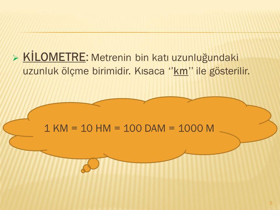  DEKAMETRE: Metrenin on katı uzunluğundaki uzunluk ölçüsü birimidir. Kısaca ''dam'' olarak gösterilir.  HEKTOMETRE: Metrenin yüz katı uzunluğundaki
