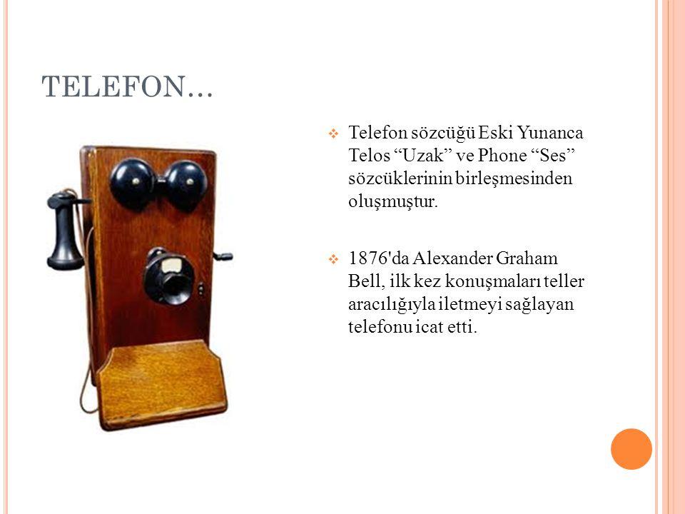 TELEFON…  Telefon sözcüğü Eski Yunanca Telos Uzak ve Phone Ses sözcüklerinin birleşmesinden oluşmuştur.