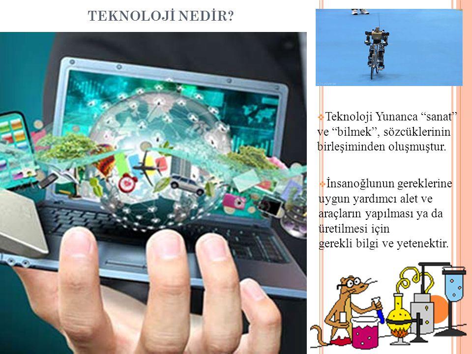 TEKNOLOJİ NEDİR. Teknoloji Yunanca sanat ve bilmek , sözcüklerinin birleşiminden oluşmuştur.