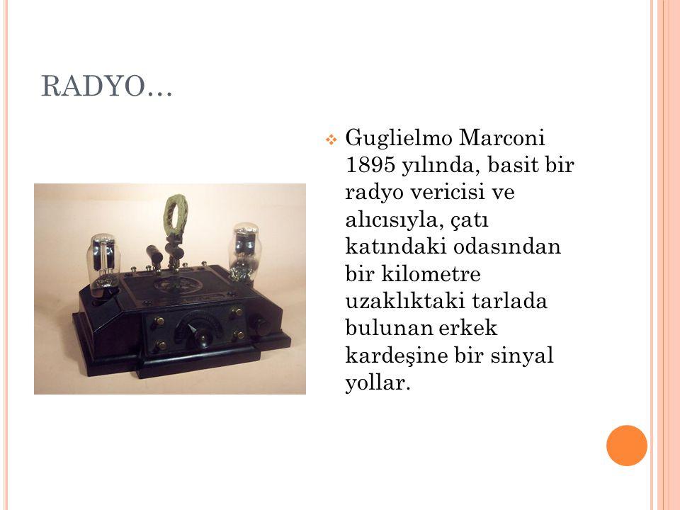 RADYO…  Guglielmo Marconi 1895 yılında, basit bir radyo vericisi ve alıcısıyla, çatı katındaki odasından bir kilometre uzaklıktaki tarlada bulunan erkek kardeşine bir sinyal yollar.