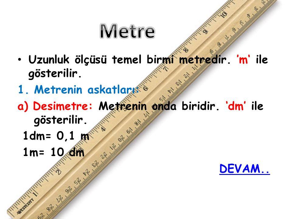 Uzunluk ölçüsü temel birmi metredir.'m' ile gösterilir.